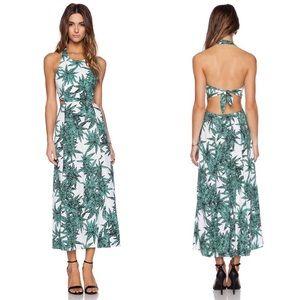 Mara Hoffman Cut Out Tie Back Leaf Print Dress